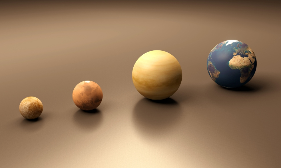 Planets Mercury Mars Venus and Earth blank