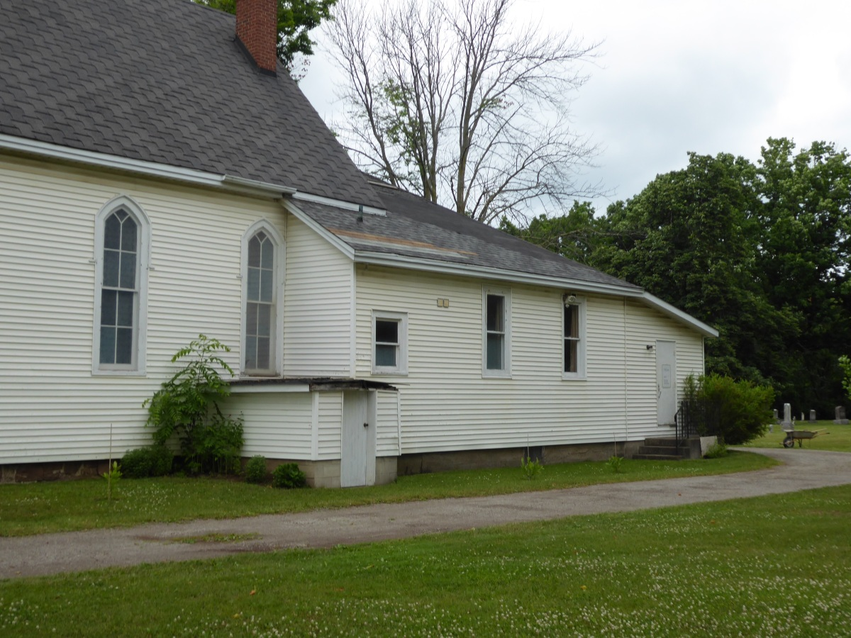 Church building at cemetery grounds