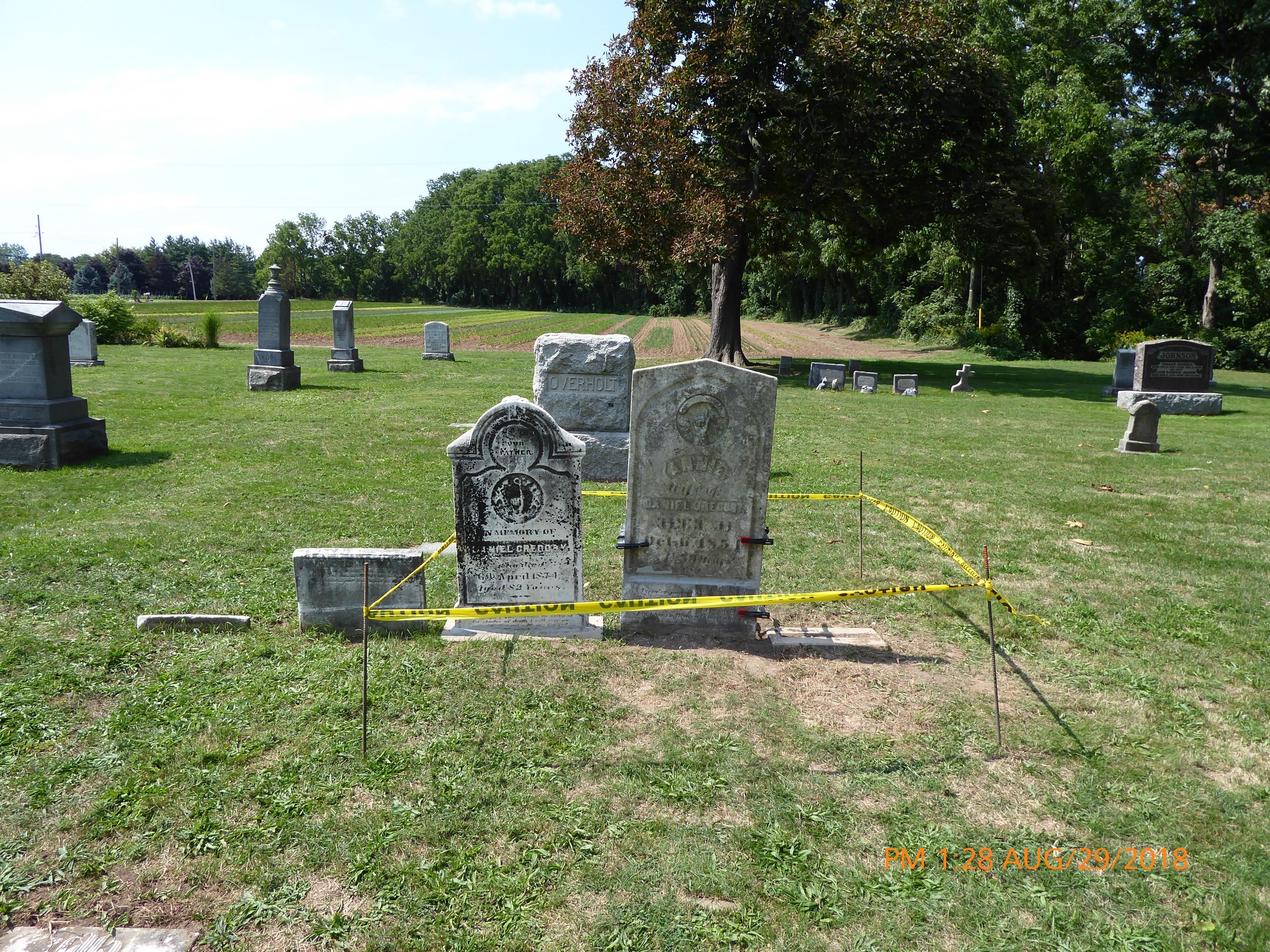Headstones under repair